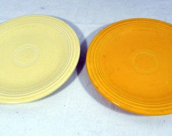 "Pair of Fiesta Plates - Bread and Butter Saucers - Homer Laughlin Vintage - Yellow & Cream - 6-1/4"" Diameter - 1960's"