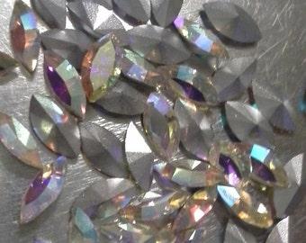 12 8x4mm Crystal AB Navettes Preciosa AB Marquis AB 8x4mm Crystals
