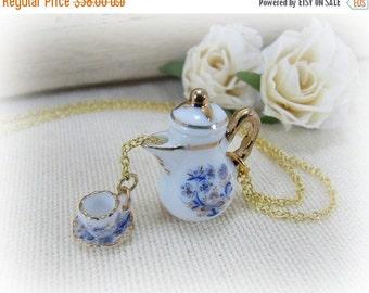 SALE Porcelain Teapot And Teacup Blue Onion Design Pouring The Tea Necklace Miniature Teapot And Teacup