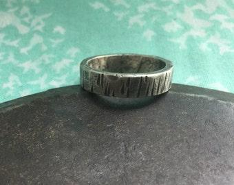 tree bark silver wedding band