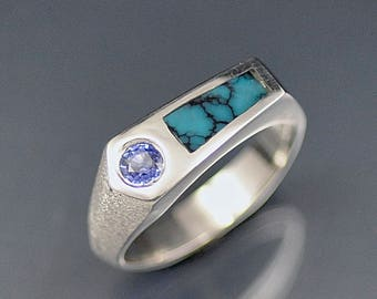 Sterling Silver Ceylon Sapphire and Turquoise Inlay Ring