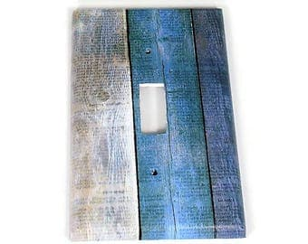 Switchplate  Light Switch Cover  Switch Plate in Blue Barnwood  (282S)
