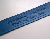 Personalized Wedding Favor or gift - Leather bookmark with leather tassel