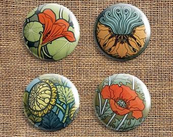 Set Of 4 Art Nouveau Pinback Button Badges (AN)