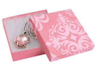 50 Pack of 3.5X3.5X1 Inch Size High Quality Pink Damask Cotton Filled Jewelry Presentation Boxes