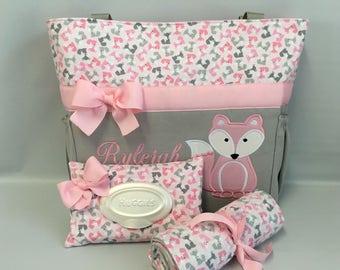 FOX Pink ... Urban Zoologie ...  FoXES .. DIAPER Bag Set .. Applique  ... Bottle Pockets ... Personalized Free