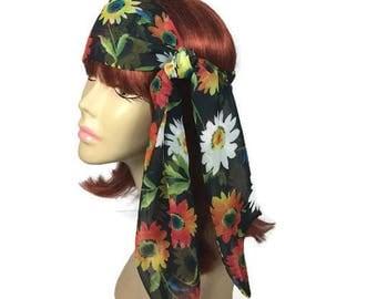 Floral Turbans Floral Black Chiffon Head Scarves Summer Head Scarves Summer Hair Scarves Yellow Daisy Hair Scarves Summer Headbands