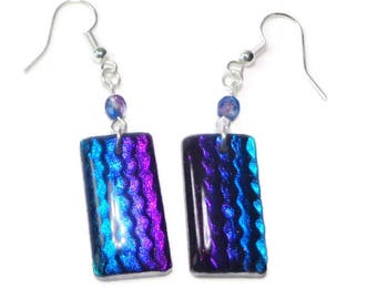 Purple Blue Dichroic Earrings- polymer clay jewelry- Resin earrings- Crystal Earrings- Ready to Ship- Gifts for Her Birthday