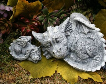 Dragon Statues - Concrete Mother & Baby Dragon Figures - Outdoor Garden Decorations