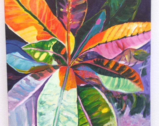 tropical leaves original acrylic painting from kauai hawaii hawaiian paintings colorful croton leaves leaf interior decor kauai fine art
