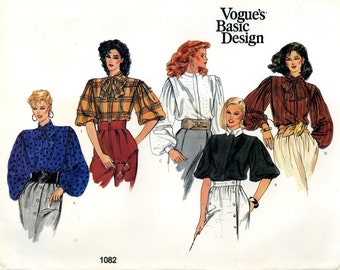 Vogue 1082 Basic Design Blouse Top Bow Gathered Sleeves Size 14 Uncut Vintage Sewing Pattern 1980s
