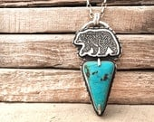 Bear necklace, turquoise silver bear jewelry, wife gift, girlfriend gift for her, christmas gift for him, turquoise jewelry, mama bear