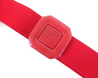 Vintage 1980's Red Elastic Belt with Square Faux Snakeskin Buckle, Modern Size 6, Small