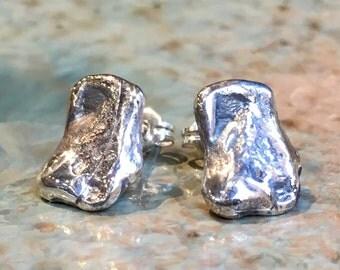 Pebble studs, minimal earrings, hammered silver stud Earrings, dainty studs, minimalist stud earrings, simple Pebble Earrings  - Sense E8075