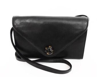 80's leather ENVELOPE BAG // vintage shoulder purse // crossbody purse // off-black