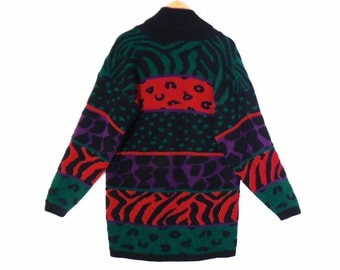 80's long slouchy COCOON sweater // tribal print // tiger stripes // black red green // women's size L