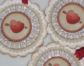 Set of THREE  Vintage inspired Victorian VALENTINE Gift Tags Ornaments Cream Red Hearts Arrows