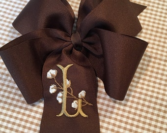Embroidered Cotton Boll Monogram Hair Bow Boutique Hair Accessory