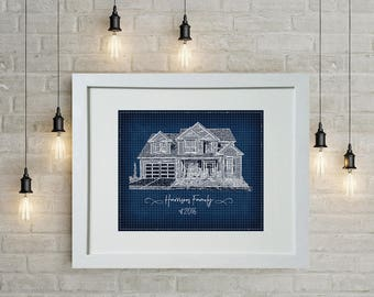 Blueprints etsy personalized wall art blueprint portrait of your house or special home to you custom malvernweather Choice Image