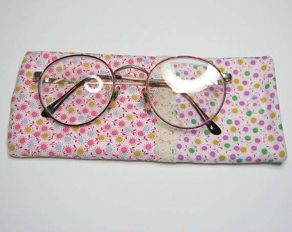 Pink/lilac: Eyeglass or sunglasses case. Fully lined with soft fleece and trimmed with cotton lace.