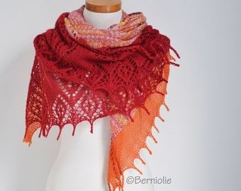 Lace knitted shawl, red, orange,  P515