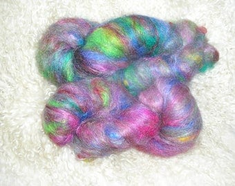 Roving rolag hand carded 100% pure kid/young goat mohair 5.6 oz/160 grams - Summer berries