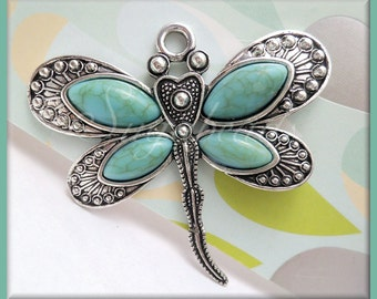 Large Antiqued Silver Dragonfly Pendant w Faux Turquoise 60mm PS205