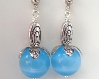 Blue Earrings Cats Eye Earrings, Blue Dangle Earrings, Blue Jewelry, Bridesmaid Earrings