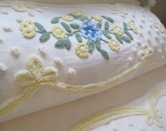 Vintage Chenille Bedspread Yellows Blues Floral on Butter Yellow Cabin Crafts Needletuft - 75 x 104 Shabby Summer Cottage