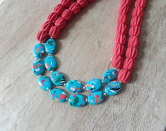 Red colorful gemstone necklace, red double strand statement necklace
