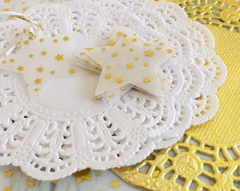 Gold Metallic Vellum Stars - Embellishments Small Pk 50 - Christmas, Gift Wrap, Table Scatters, Confetti, Gift Tags, Party