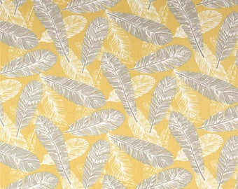 "Yellow, Grey and White Feathers Valance - 50"" x 16"" - Premier Prints Flock Saffron Fabric"
