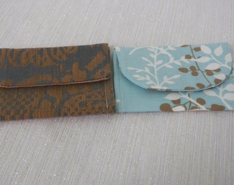 Aqua Botanical and Antique Tan and Blue Damask Mini Pocket Wallet Set of Two