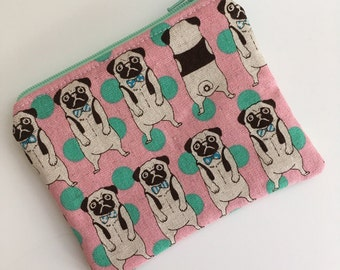 Pug Dog Zipper Pouch, Pug Dog Bag, Pug Dog Wallet