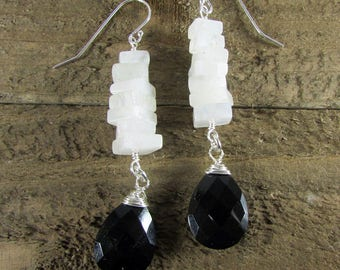 Moonstone Earrings, Black Onyx & Square Moonstone Dangles