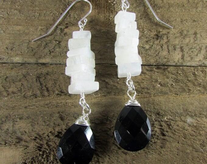 Moonstone Earrings, Black Onyx & Square Moonstone Dangles