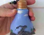Reserved for Megan Happy Fathers Day Diamond Back Snake Light Catcher Window Ornament made with Polymer Clay and a Dead Light Bulb