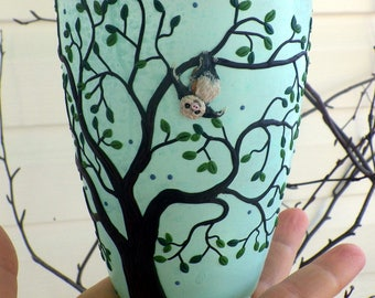 Sweet Baby Sloth Hanging in a Tree Sculpted with Polymer Clay onto a Recycled Glass Candle Holder in Light Turquoise