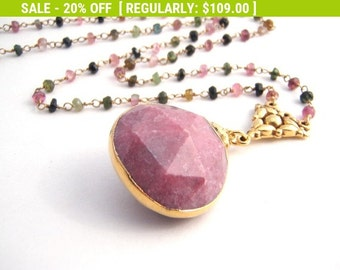 20% Off Sale Rainbow Tourmaline Pendant Necklace, Rosary Style, Pink Chalcedony Teardrop Pendant, Gold, Pink, Green