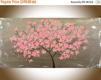 Modern Abstract painting pink flowers tree brown large wall art shabby chic Oil landscape Painting Art office wall decor by qiqigallery