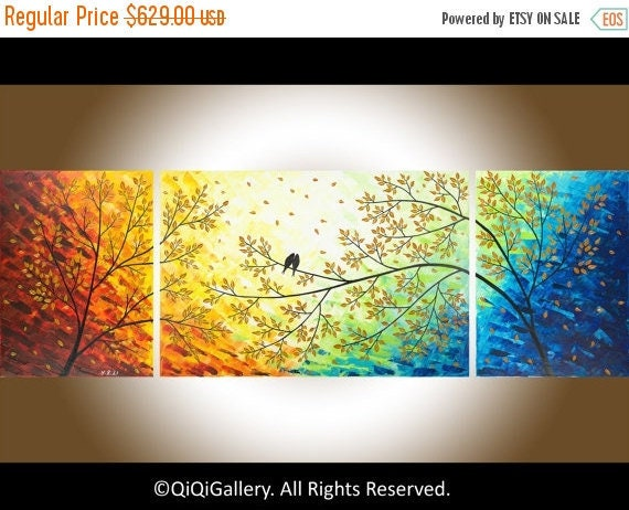 "Large art 72"" original Romantic love birds art home decor wall hangings wall art landscape Painting"" Over the Rainbow"" by qiqigallery"