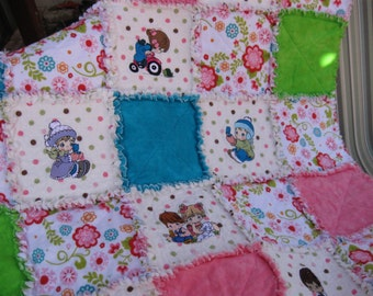 "SALE  baby girl rag quilt 35"" X 49"" precious moments embroidery"