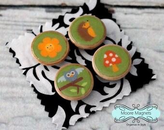 Magnet Set of 4 - Woodland Animals Owl Hedgehog Flower Mushroom