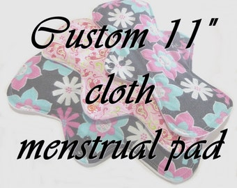"MADE TO ORDER - 11"" Reusable Cloth Menstrual pad - choose your fabric and absorbency"