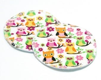 "Large 5"" Reusable Cloth Nursing Pad Set in Bamboo/Organic Cotton with poly fleece - cotton flannel top - Owl Garden"