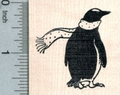 Penguin in Scarf Rubber Stamp, Christmas Holiday Series G31411 Wood Mounted