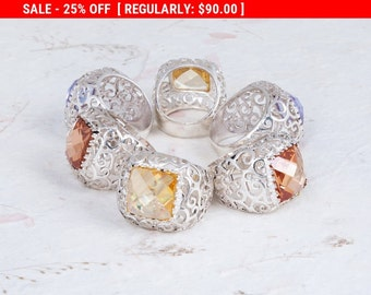 On SALE 25% OFF Gemstone Ring, Sterling Silver Filigree Ring, Citrine Ring, Zircon Ring, Chunky Ring, Lace Ring, Onyx Ring, Garnet Ring, ...