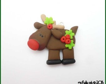 SALE Polymer Clay Charm Red Nose Reindeer Pendant