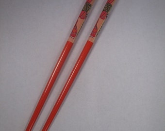 Vintage Orange Chopstick Hair Bun Pick Holder