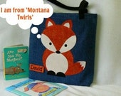 Fox Book Bag|Kids Personalized Book Bag|Toddler Book Bag|Children's Book Bag|Birthday Party Gift|Library Book Bag|Preschool Book Bag